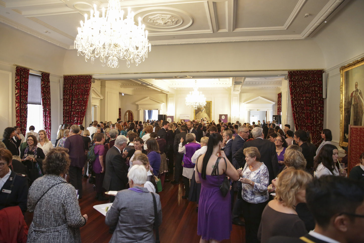 The event was awash with purple and white.