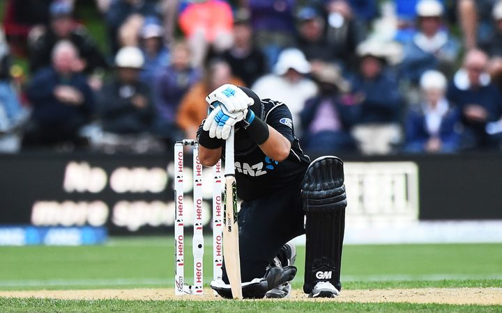 Black Cap Ross Taylor goes down hurt during his 181* in the fourth ODI against England.