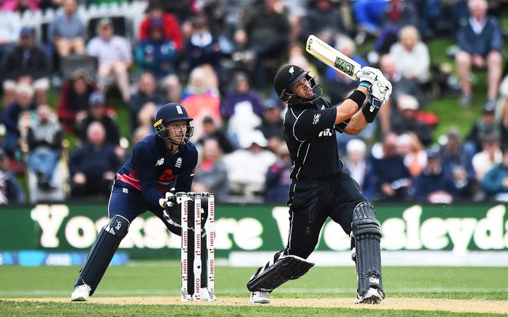 Ross Taylor hits another six during his epic innings in the fourth ODI against England.