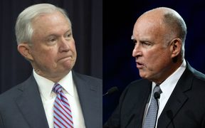 Attorney General Jeff Sessions (left) and California governor Jerry Brown.