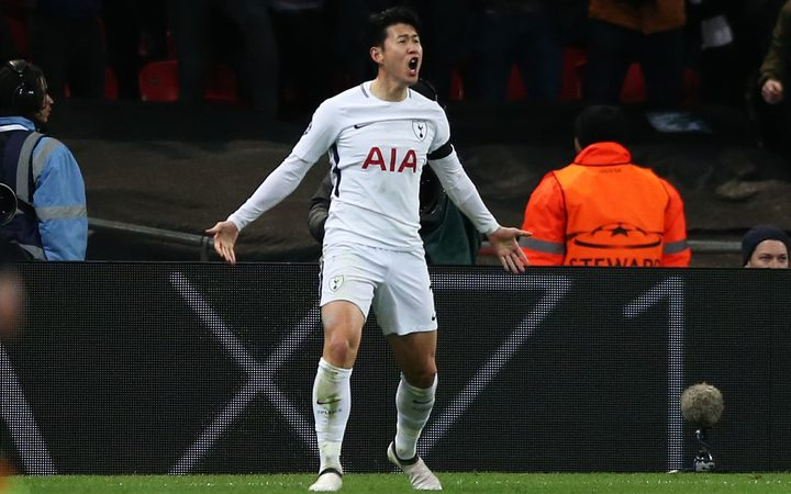 Son Heung-Min celebrates scoring for Tottenham Hotspur.