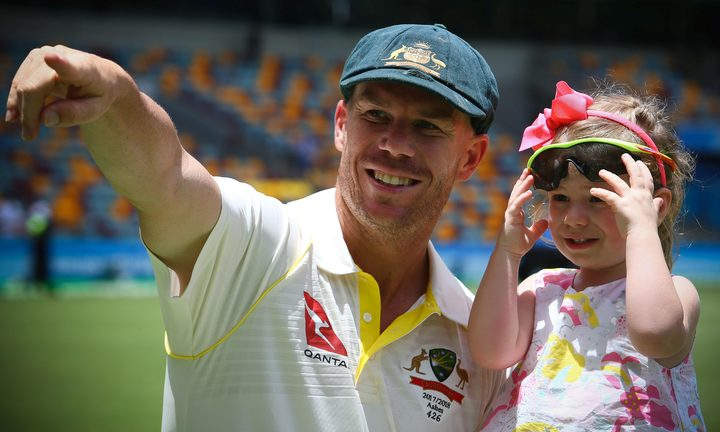 Australian player David Warner with daughter Ivy.