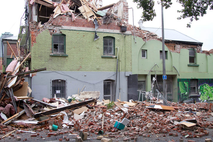 Badly damaged structures are surrounded in rubble in Christchurch on February 23, 2011 a day after the city was rocked by a 6.3 magnitude earthquake.