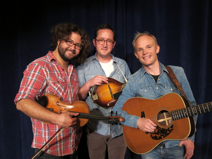 Andrew VanNorstrand (fiddle), Joe K Walsh (mandolin) and Mark Mazengarb (guitar)