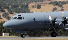 A Royal New Zealand Air Force P3 Orion aircraft on its way to take off at Pearce Airbase on Sunday to aid in the search for missing Malaysia Airlines flight MH370.