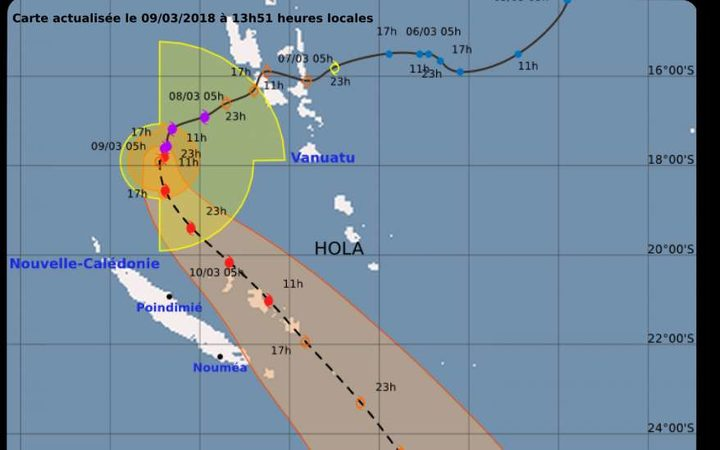 A forecast track map on Friday night showed the path of Cyclone Hola, now a category two, passing through New Caledonia's Loyalty Islands.