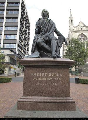 Robbie Burns' statue in the Octagon.