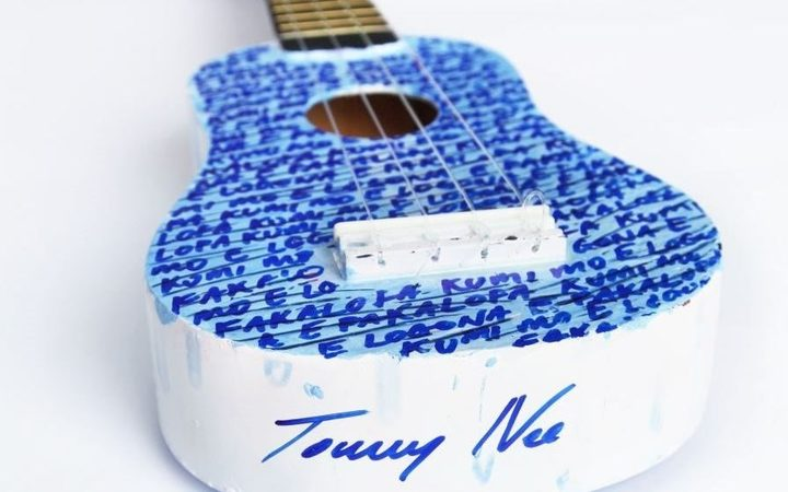 Ukelele decorated and signed by Niuean musician, Tommy Nee