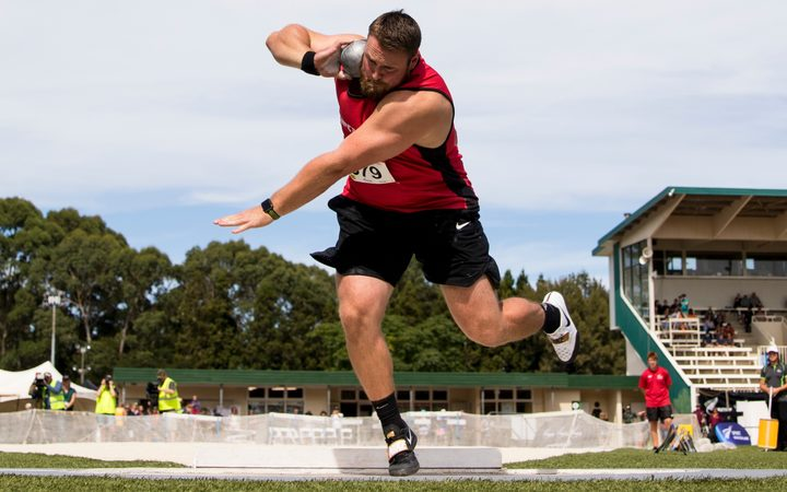 Shot putter Tom Walsh as four metres clear of his nearest rival at the national track and field champs in Hamilton.