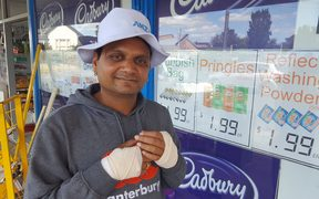 Dairy owner Sandip Patel suffered injuries to his hands and head in a machete attack at his shop.