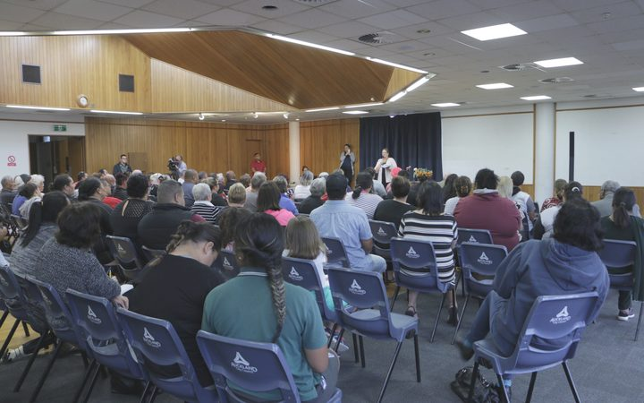The Ōtāhuhu community meeting to air grievances over the 11 child sex offenders that were housed in the community nearby to two schools. Photo / Eva Corlett