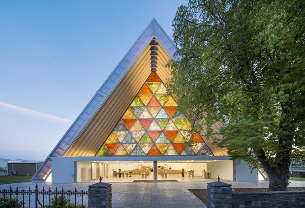 An exterior view of the Cardboard cathedral in Christchurch designed by Shigeru Ban.