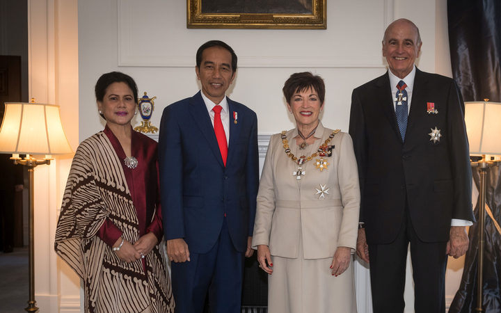 Joko Widodo, President of the Republic of Indonesia and his wife Mrs Iriana Joko Widodo with New Zealand Governor General Dame Patsy Reddy and her husband Sir David Gascoigne.