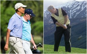 US President Barack Obama and then New Zealand Prime MInister John Key on the golf course in Hawaii in 2014 (left) and President Bill Clinton in Queenstown in 1999.