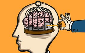 69425127 - opening mind - conceptual vector illustration of cage in head with brain inside and hand opening it with key