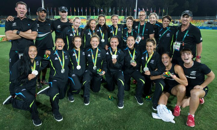 The New Zealand women's sevens team celebrate their Olympic silver medal.