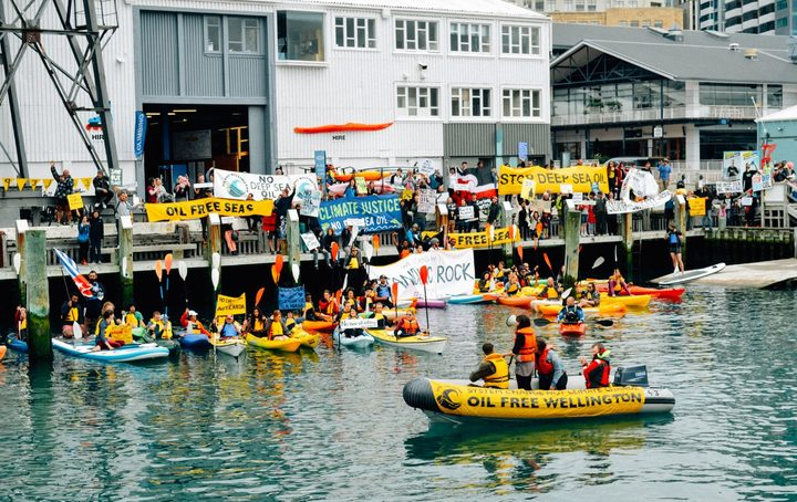 An Oil Free Wellington protest.