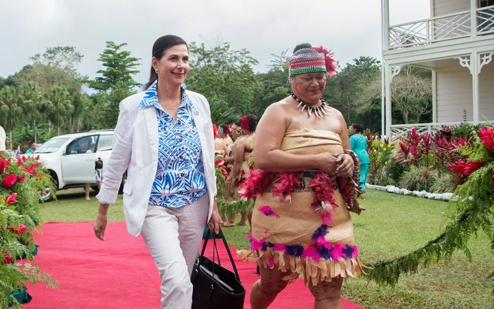 Australia's Minister of International Development, Concetta Fierravanti-Wells (L), arrives for the opening of 48th Pacific Islands Forum (PIF) in Apia, Samoa on September 5, 2017.