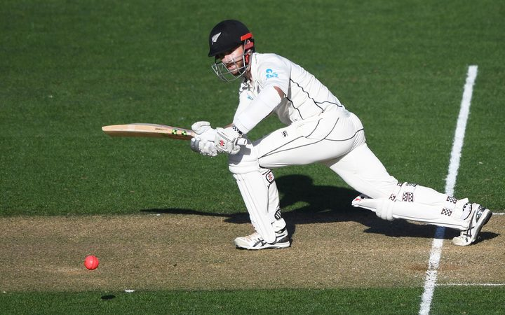 Kane Williamson in action for the Black Caps in their day/night Test against England.