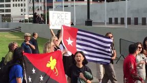 Supporters of independence for West Papua also at Parliament during the State visit.