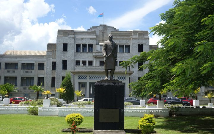 The front of Fiji's parliament and government buildings in downtown Suva.