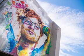 The giant Ed Sheeran mural in Dunedin