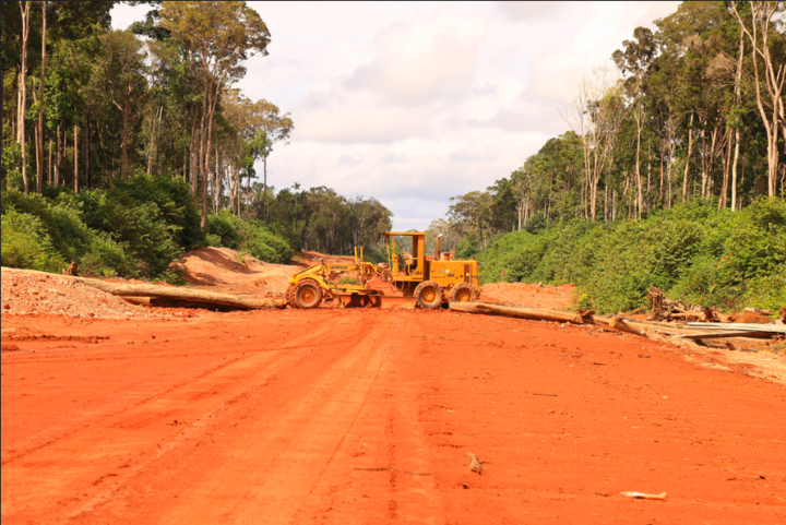 Heavy machinery and logs block access to Korindo's PT Inocin Abadi logging concession.