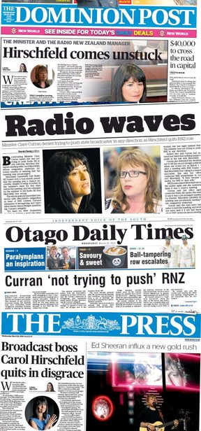 The RNZ resignation was front page news for four metropolitan daily papers on Wednesday.