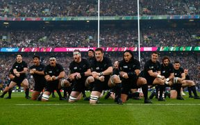 The All Blacks perform the haka during the 2015 Rugby World Cup Final match between New Zealand and Australia at Twickenham.
