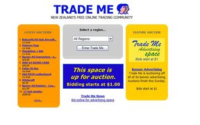 The very first Trade Me homepage from 1999.