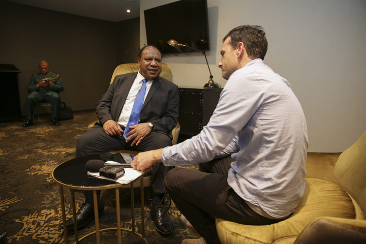 PNG Minister for Foreign Affairs and Immigration, Rimbink Pato & RNZ Pacific's Johnny Blades