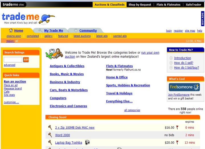 Trade Me homepage in 2004.