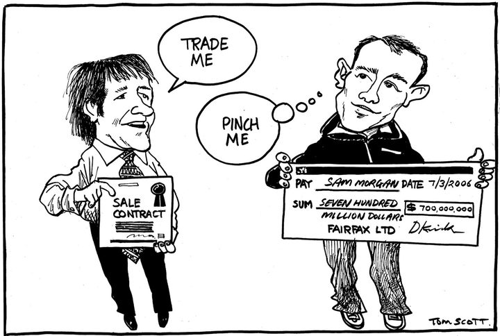"Tom Scott's take on the 2006 sale of Trade Me. Fairfax CEO David Kirk holds a sale contract and says ""Trade me"". Trade Me founder Sam Morgan holds a cheque for $700 million and thinks ""Pinch me."""
