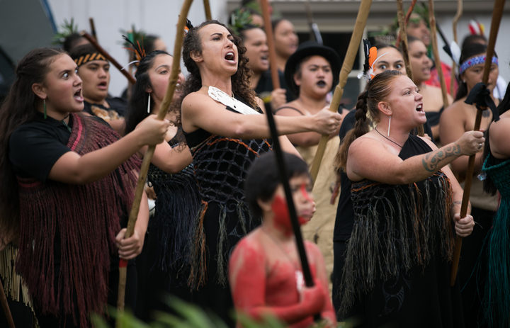 Haka powihiri at Haratu Marae for the National Day of Remembrance on March 11th in Russell
