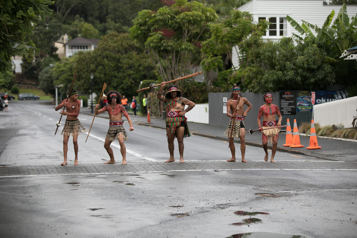 Procession through the streets of Russell was lead by Maori warriors