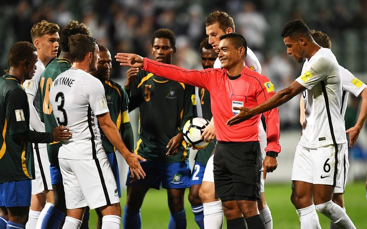 Referee Norbert Hauata during the FIFA World Cup Qualifier between New Zealand and Solomon Islands.