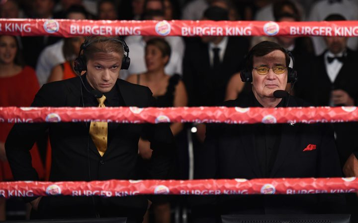 Boxing commentating duo Mike Angove and Colonel Bob Sheridan.