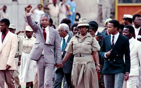 February 25, 1990, anti-apartheid leader and Nelson Mandela accompanied by his wife Winnie Mandela after being released from prison.