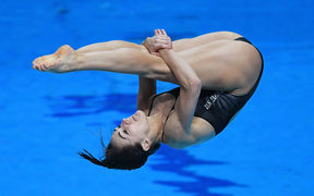 BUDAPEST, HUNGARY - JULY 14: Shaye Boddington of New Zealand  competes during the Womens 1M Springboard Diving, preliminary round on day one of the Budapest 2017 FINA World Championships on July 14, 2017 in Budapest, Hungary.  (Photo by Laurence Griffiths/Getty Images)