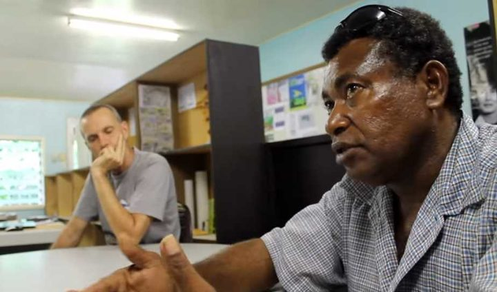 Pomio landowner Nobert Pames (right) has campaigned for years to regain access for his community to its own land in the face of logging development.