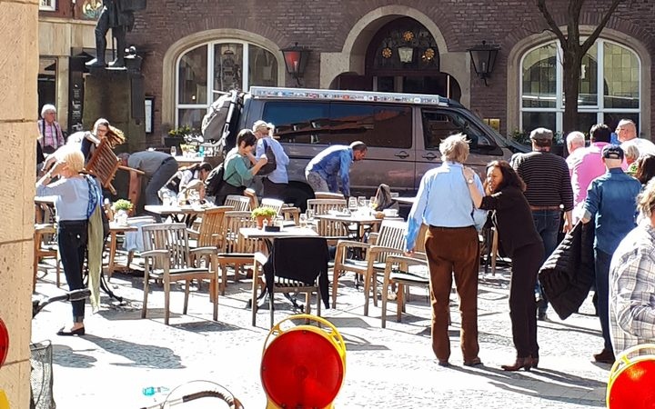 The scene where several people were killed and injured when a vehicle ploughed into pedestrians at a cafe in Muenster, western Germany.