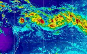 A satellite image shows the cyclone, which will be named Kala when it forms, brewing in the ocean to Fiji's west.