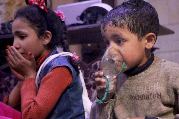 Affected Syrian children receive medical treatment after Assad regime forces allegedly used poisonous gas in an attack on rebel-held Douma.