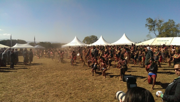 Powhiri for the official party at the battle site on Tuesday.