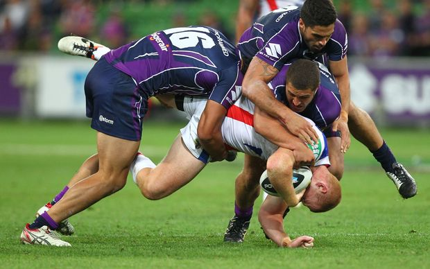 Alex McKinnon just before he landed on his head and neck.