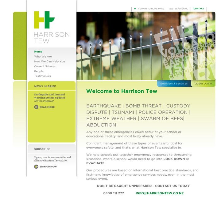 A screenshot of Harrison Tew's website.