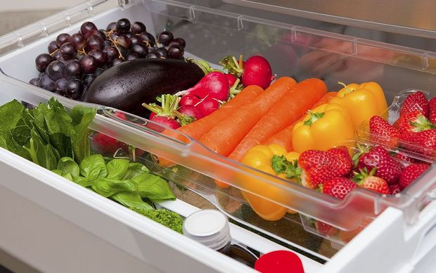 Fruit and vegetables in fridge.