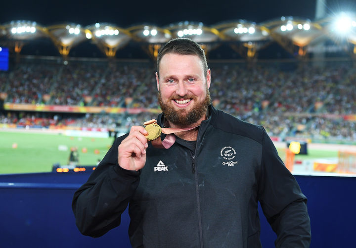New Zealand shot put champion and Commonwealth Game gold medallist Tom Walsh. Atheltics. Carrara Stadium. Commonwealth Games, Gold Coast, Australia. Monday 9 April 2018. © Copyright photo: Andrew Cornaga / www.photosport.nz