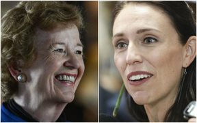 Mary Robinson, left, former President of Ireland and UN High Commissioner for Human Rights, and Jacinda Ardern, Prime Minister of New Zealand.
