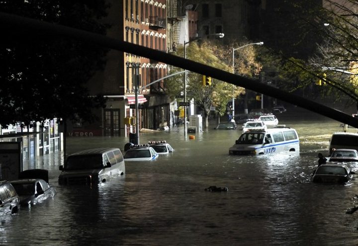 Flooding in Manhattan, New York after Hurricane Sandy.